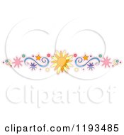 Cartoon Of A Sun Crescent Moon Swirl Circle And Star Border Design Element Royalty Free Vector Clipart