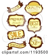 Cartoon Of Brown And Yellow Retail Store Product Labels Royalty Free Vector Clipart