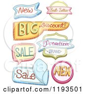 Cartoon Of Colorful Shaped Retail Store Labels Royalty Free Vector Clipart