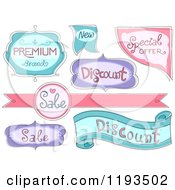 Cartoon Of Pink Purple And Blue Retail And Sale Label Designs Royalty Free Vector Clipart by BNP Design Studio