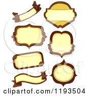 Cartoon Of Brown And Yellow Blank Labels Royalty Free Vector Clipart