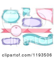 Cartoon Of Pink Purple And Blue Blank Label Designs Royalty Free Vector Clipart