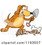 Cartoon Of A Hound Dog Mascot Burying A Bone Royalty Free Vector Clipart by Toons4Biz