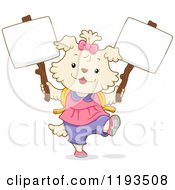 Cartoon Of A Cute Dog Student Girl Holding Two Signs Royalty Free Vector Clipart