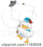 Cartoon Of A Cute Sailor Duck Holding A Sign Royalty Free Vector Clipart by BNP Design Studio