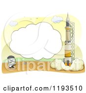 Cartoon Of A Frame And Scientist Launching A Rocket Royalty Free Vector Clipart