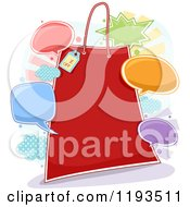 Cartoon Of A Red Retail Shopping Bag Frame With Chat Balloons Royalty Free Vector Clipart