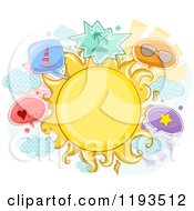 Cartoon Of A Sun Frame And Summer Item Balloons Royalty Free Vector Clipart