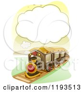 Cartoon Of A Steam Cloud Frame Over A Train Royalty Free Vector Clipart