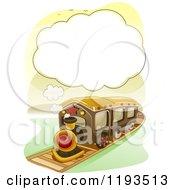 Cartoon Of A Steam Cloud Frame Over A Train Royalty Free Vector Clipart