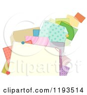 Cartoon Of A Frame Of Patterned Papers And Clips Royalty Free Vector Clipart