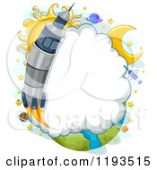 Cartoon Of A Rocket Launch Cloud Frame Royalty Free Vector Clipart
