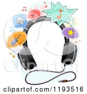 Cartoon Of A Frame Of Headphones And Music Balloons Royalty Free Vector Clipart by BNP Design Studio