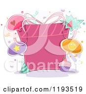 Cartoon Of A Pink Birthday Gift With Copyspace Royalty Free Vector Clipart