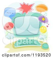 Cartoon Of A Computer And Online Communication Frame Royalty Free Vector Clipart