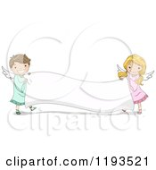 Cartoon Of A Cute Angel Boy And Girl Holding A Blank Banner Royalty Free Vector Clipart