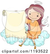 Cartoon Of A Cute Angel Girl Holding A Scroll On A Cloud Royalty Free Vector Clipart