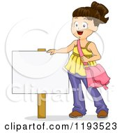 Cartoon Of A Happy Brunette Girl Standing By A Sign Royalty Free Vector Clipart