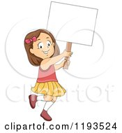 Cartoon Of A Happy Brunette Girl Walking And Holding Up A Sign Royalty Free Vector Clipart