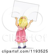 Cartoon Of A Rear View Of A Blond Girl In A Pink Dress Holding Up A Sign Royalty Free Vector Clipart