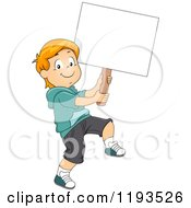 Cartoon Of A Happy Boy Marching With A Sign Board Royalty Free Vector Clipart