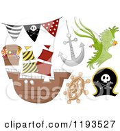 Cartoon Of Pirate Birthday Party Design Elements 2 Royalty Free Vector Clipart by BNP Design Studio