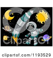 Cartoon Of A Rocket And Astronaut In Outer Space Royalty Free Vector Clipart by BNP Design Studio