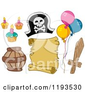 Cartoon Of Pirate Birthday Party Design Elements Royalty Free Vector Clipart