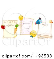Cartoon Of Memo And Menu Pages With Veggie Fish And Emoticon Magnets Royalty Free Vector Clipart by BNP Design Studio