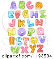 Cartoon Of Colorfully Patterened Capital Letters Royalty Free Vector Clipart