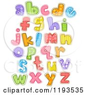 Cartoon Of Colorfully Patterened Lowercase Letters Royalty Free Vector Clipart