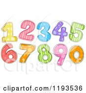 Cartoon Of Colorfully Patterned Numbers Royalty Free Vector Clipart