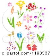 Cartoon Of Stencil Styled Flowers Royalty Free Vector Clipart