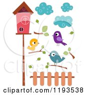 Cartoon Of Sticker Styled Birds Clouds Branches A Fence And House Royalty Free Vector Clipart