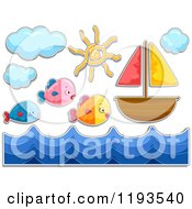 Cartoon Of Sticker Styled Fish Waves And A Sailboat Royalty Free Vector Clipart by BNP Design Studio