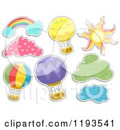 Cartoon Of Sticker Styled Hot Air Balloons Clouds A Sun And Rainbow Royalty Free Vector Clipart