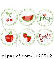 Cartoon Of Sticker Styled Red Fruit Icons Royalty Free Vector Clipart by BNP Design Studio