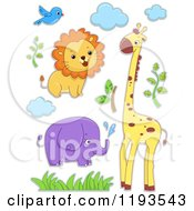 Cartoon Of A Sticker Styled Lion Bird Elephant Giraffe Clouds And Foliage Royalty Free Vector Clipart