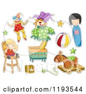 Cartoon Of Sticker Styled Childrens Toys Royalty Free Vector Clipart