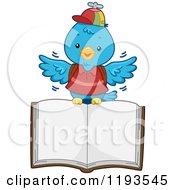 Cartoon Of A Blue Bird Student Flying With An Open Book Royalty Free Vector Clipart