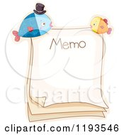 Cartoon Of A Memo Page With Fish Magnets Royalty Free Vector Clipart by BNP Design Studio
