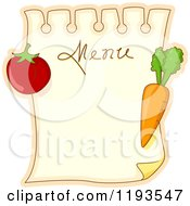Cartoon Of A Menu Page With Tomato And Carrot Magnets Royalty Free Vector Clipart by BNP Design Studio