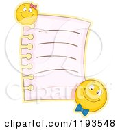 Cartoon Of A Memo Page With Male And Female Emoticon Smiley Magnets Royalty Free Vector Clipart by BNP Design Studio