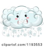 Cartoon Of A Cold Shivering Snow Cloud Mascot Royalty Free Vector Clipart by BNP Design Studio
