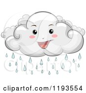Cartoon Of A Happy Rain Cloud Mascot Royalty Free Vector Clipart
