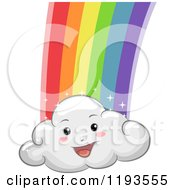 Cartoon Of A Happy Cloud Mascot With A Rainbow Royalty Free Vector Clipart