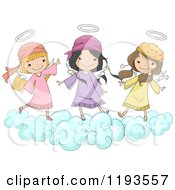 Cartoon Of Cute Angel Girls Playing On A Cloud Royalty Free Vector Clipart