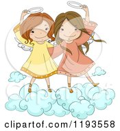 Cartoon Of Cute Angel Girls Holding Their Halos On A Cloud Royalty Free Vector Clipart by BNP Design Studio