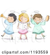 Cartoon Of A Singing Angel Girl And Boys Playing Instruments Royalty Free Vector Clipart