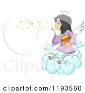 Cartoon Of A Cute Angel Girl Blowing Stars Into The Sky Royalty Free Vector Clipart